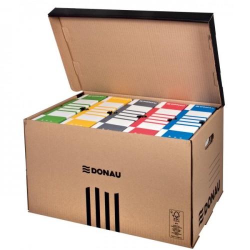 e164aa4dc Archívna škatuľa so sklápacím vekom DONAU hnedá
