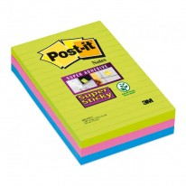 Bloček  Post-it Super Sticky 102x152 linajkový mix farieb